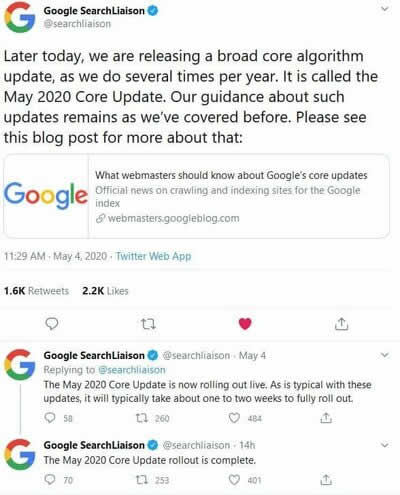 Google搜索2020年5月核心算法更新 谷歌 Google 微新闻 第1张